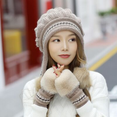 Winter Hat Female Autumn and winter Fashion Gloves + knit hat - Nikkiaz