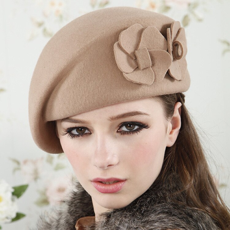 Women Beret Hat For Women Beanie Female Cap Flower French - Nikkiaz