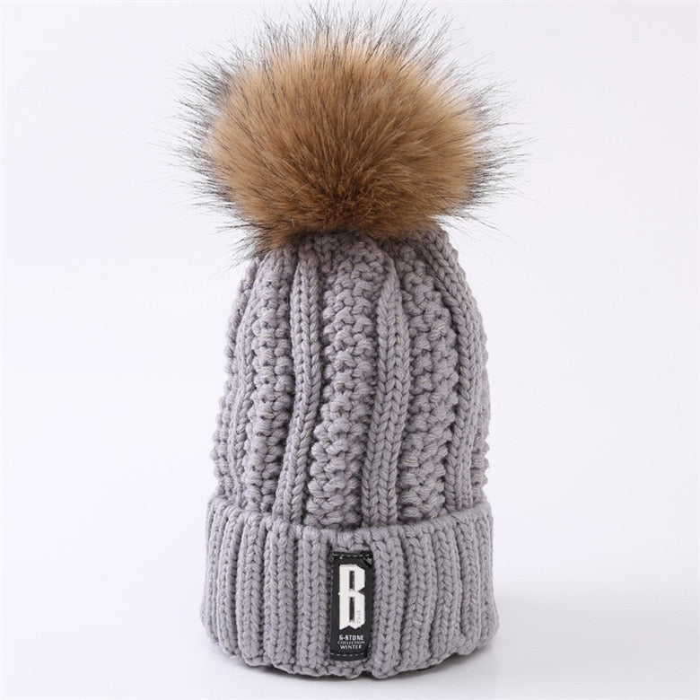 Winter knitted Beanies Hats Women Thick Warm Beanie Skullies Hat Female - Nikkiaz