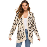 2019 Fall Leopard Casual V-neck Cardigan - Nikkiaz