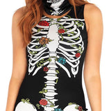 Skull Print Horror Dress Sleeveless - Nikkiaz