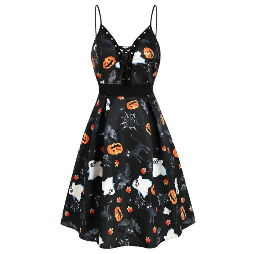 Pumpkin Ghost Leaf Print Lace Up Dress - Nikkiaz