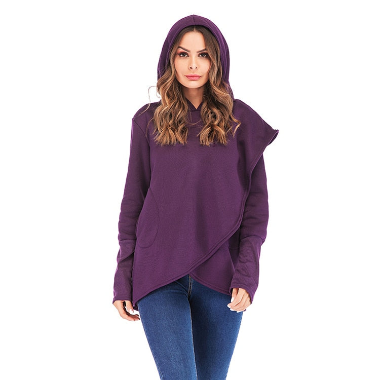Women Hoodies Sweatshirts 2019 Autumn Winter Plus Size Long Sleeve Pocket Pullover - Nikkiaz