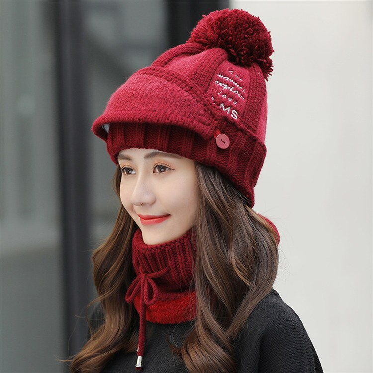 Sets 3 Hats Women Winter Knit Beanies Hat with Bib and Mask Female Ear Protection - Nikkiaz
