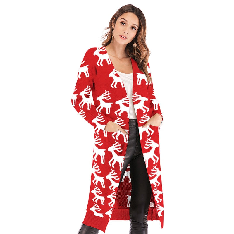 Christmas Sweater Autumn Long Cardigan - Nikkiaz