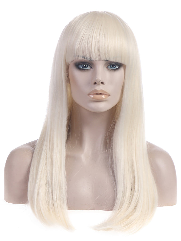 "OWNSEN 20"" Long Blonde Full Wigs With Bang For White Women Poker Face Gaga Cosplay Wigs Synthetic Heat Friendly Fiber"