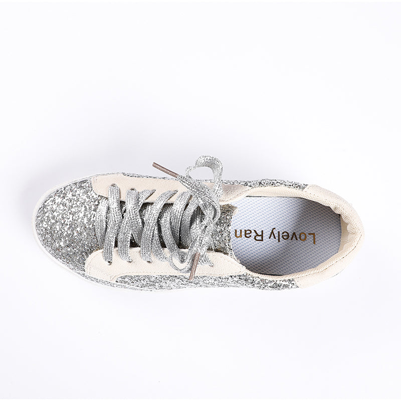 Lovely Ran Women Lace Up Sneakers Glitter Spring Autumn  Ladies Bling Casual Female 2020 Fashion Sneakers