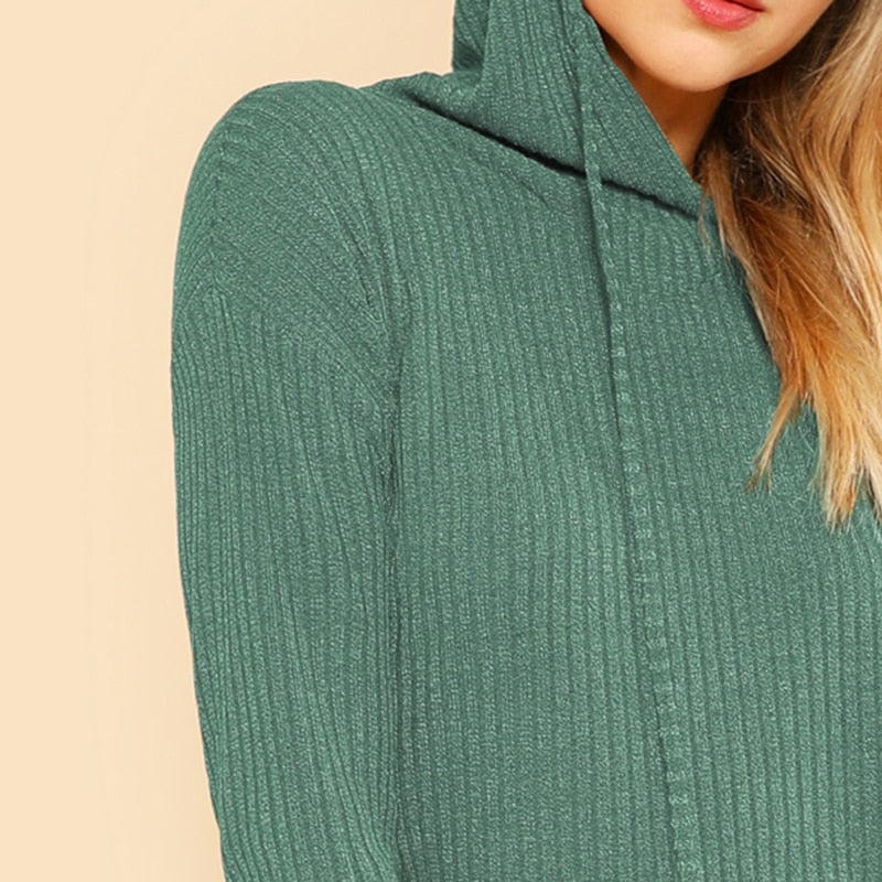 Green Casual Long Sleeve Stretchy Sweater Dresses - Nikkiaz
