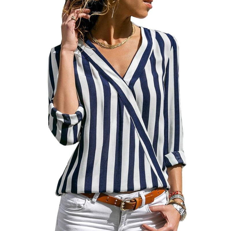 V-Neck Casual Striped Long Sleeve Top - Nikkiaz