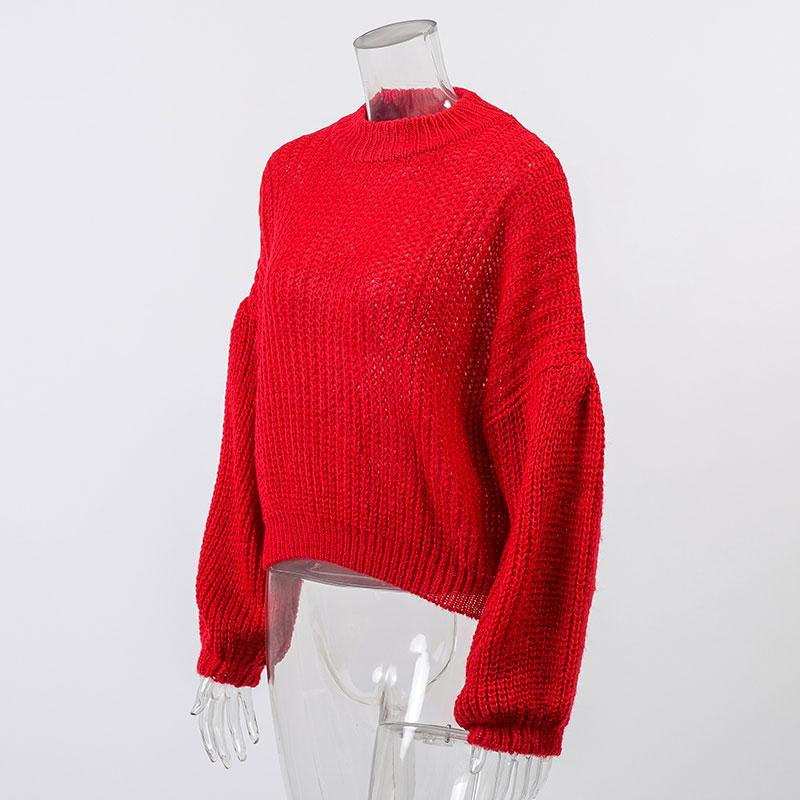 Lantern Sleeve Solid Sweater - Nikkiaz