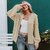 Vintage Pompon Knitted Cardigan Sweater Zipper