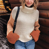Patchwork Turtleneck Color Block Pullover Sweaters