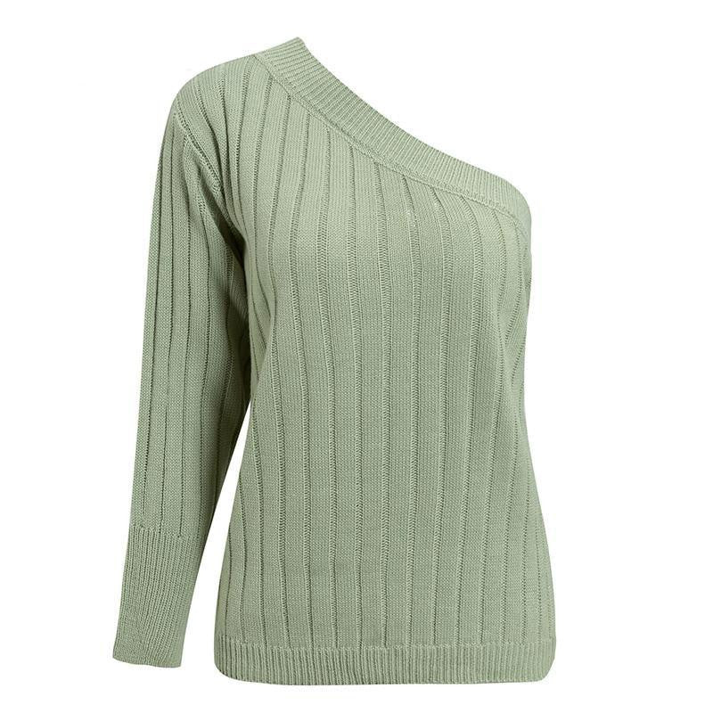 Acrylic Ribbed One Shoulder Sweaters