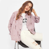 Rips Detail Boyfriend Denim Jacket - Nikkiaz