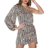 Women One Shoulder Zebra Print Dress - Nikkiaz