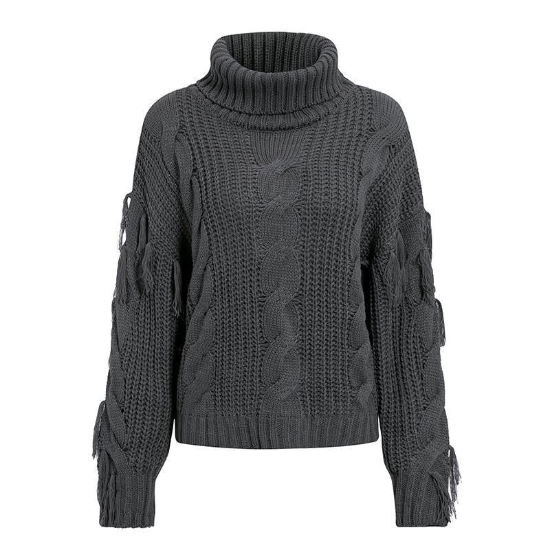 Tassel Turtleneck Sweaters Winter - Nikkiaz