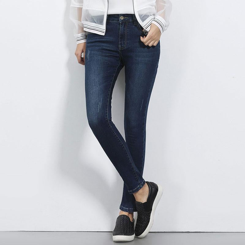 Skinny Denim Full Length Women Jeans - Nikkiaz