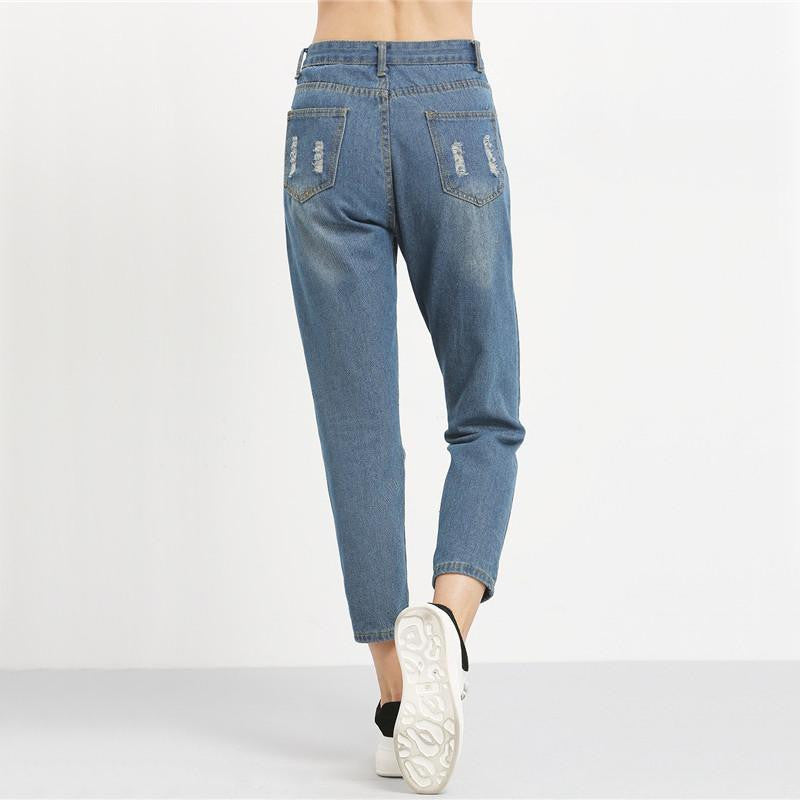Ankle Length Ripped Hole Jean - Nikkiaz