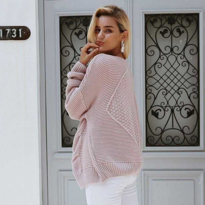Twist knitted Cardigan for Women - Nikkiaz