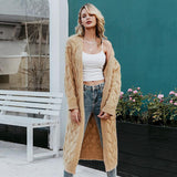 Solid Mohair Long Cardigan Sweater knitted - Nikkiaz