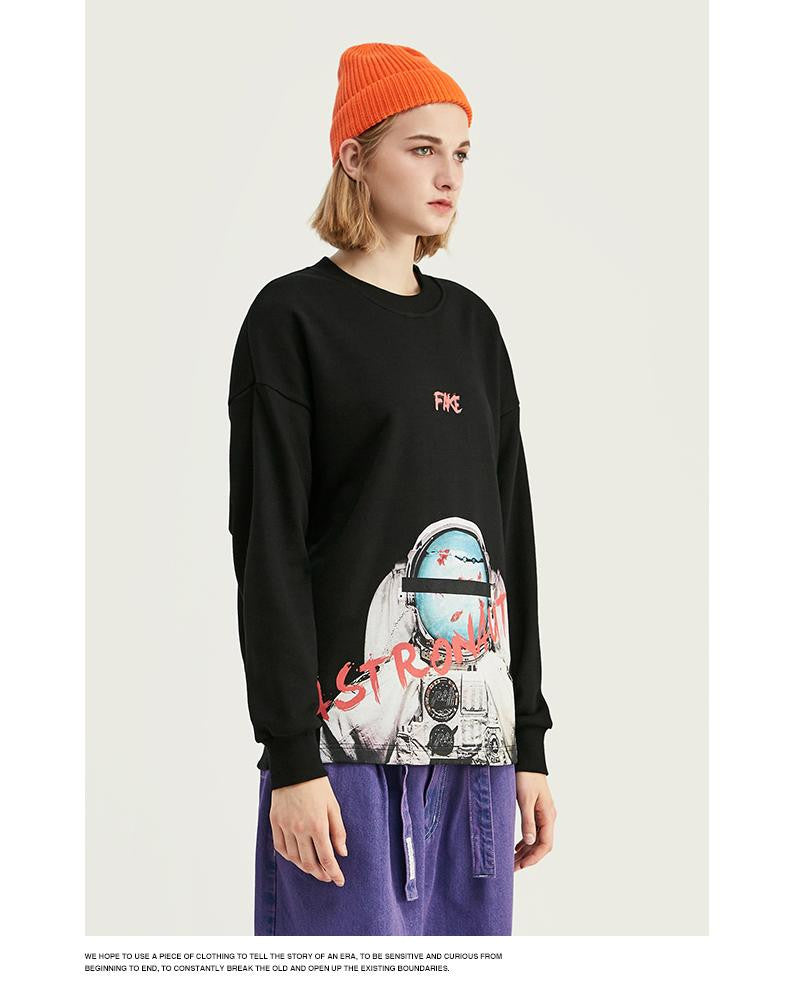 Print Space Elements Fleece Sweatshirt - Nikkiaz