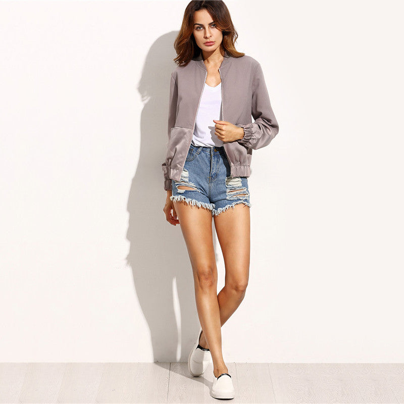 Color Block Pocket Basic Jacket - Nikkiaz