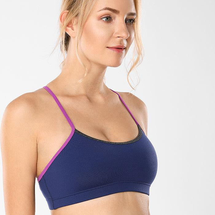 Women's Light Support Braided T-Back Yoga Sports Bra - Nikkiaz