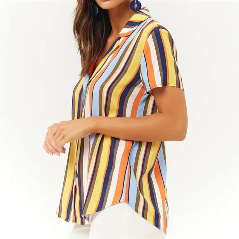 Casual Striped Button-Down Blouse - Nikkiaz
