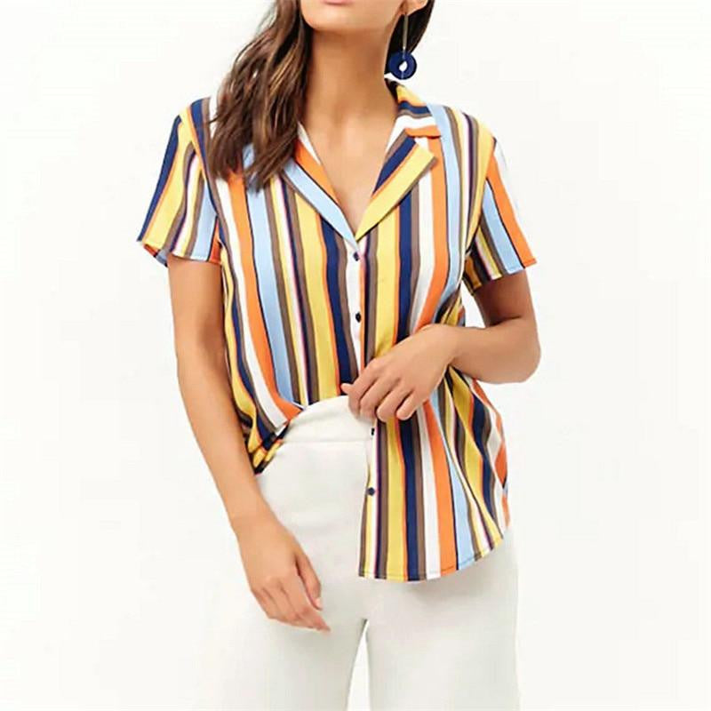 Casual Striped Button-Down Blouse