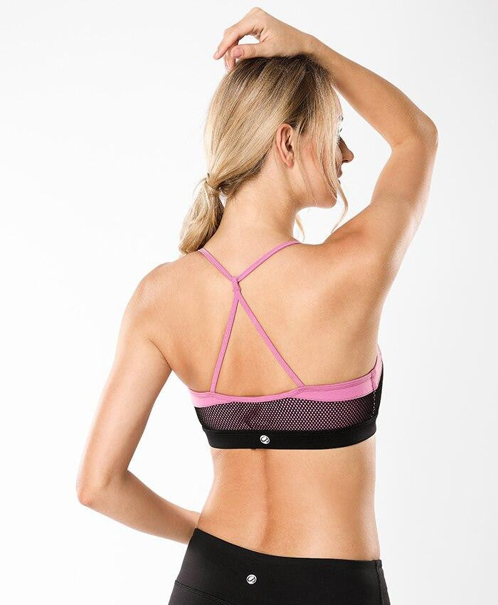 Women's Power Mesh Strappy Back Criss-cross Yoga Sports Bra - Nikkiaz