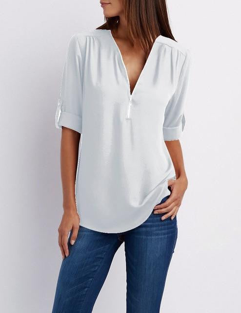 Ladies Loose V-Neck Blouse - Nikkiaz
