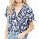 Short Sleeve Floral Print Summer Top - Nikkiaz