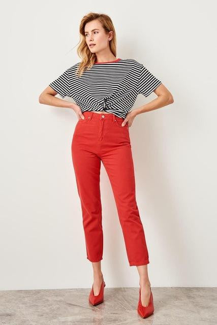 Delicate High Waist Mom Jeans - Nikkiaz