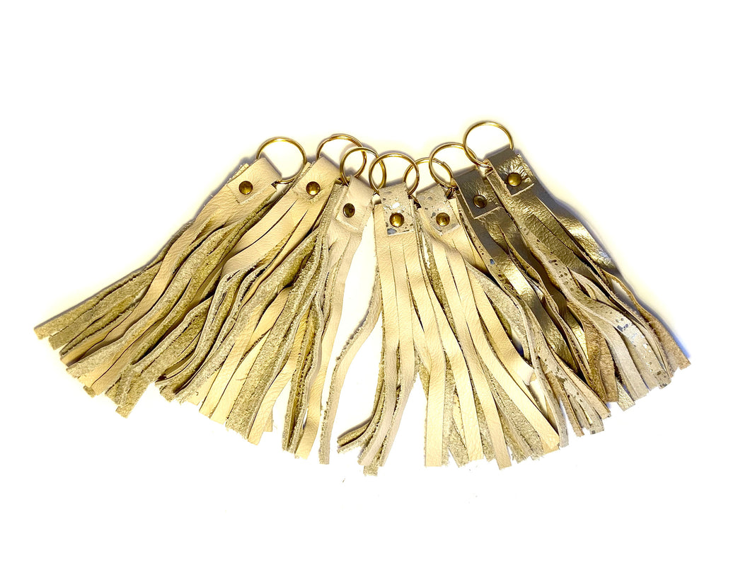 Cream & Metallic Tassel Keyrings