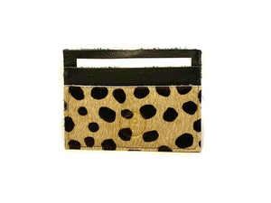 Black Spotted Hair Card Case 5 Slots