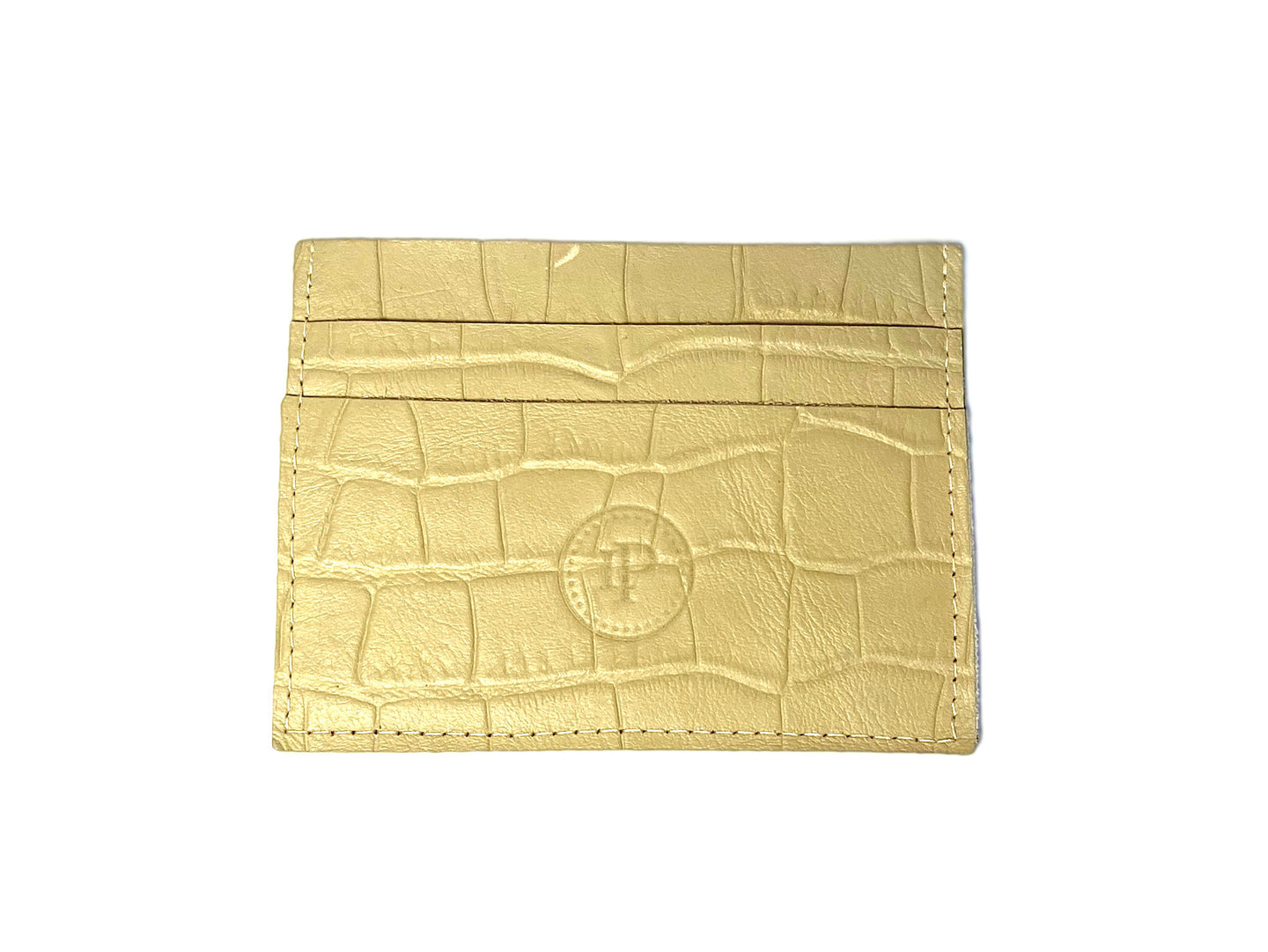 Cream Croc Card Case 3 Slots
