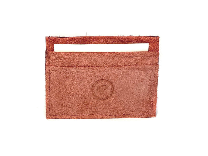 Red Suede Card Case 5 Slots