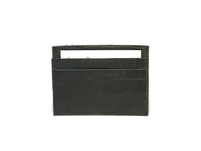 Grey Charcoal Croc Card Case 3 Slots