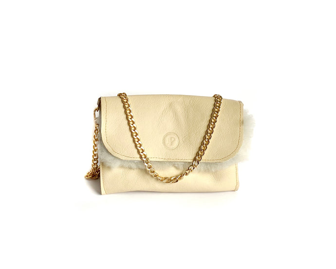 Cream Shearling Mini Bag