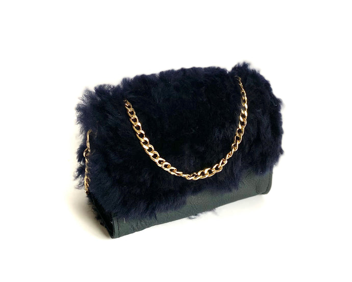 Navy Shearling Mini Bag
