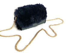 Load image into Gallery viewer, Navy Shearling Mini Bag