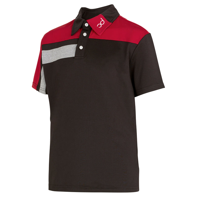 FREDDIE Polo - Black/Red/Grey Fleck