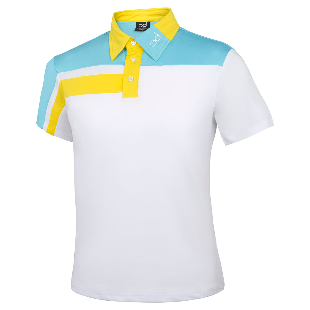 FREDDIE Polo - White/Light Blue/Yellow