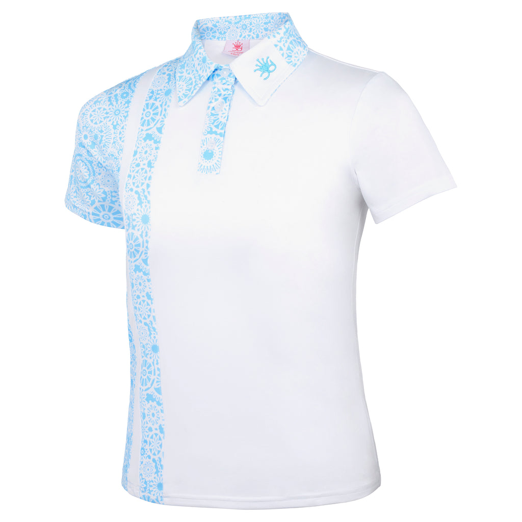 SOPHIA Girls Polo - White/Turquoise