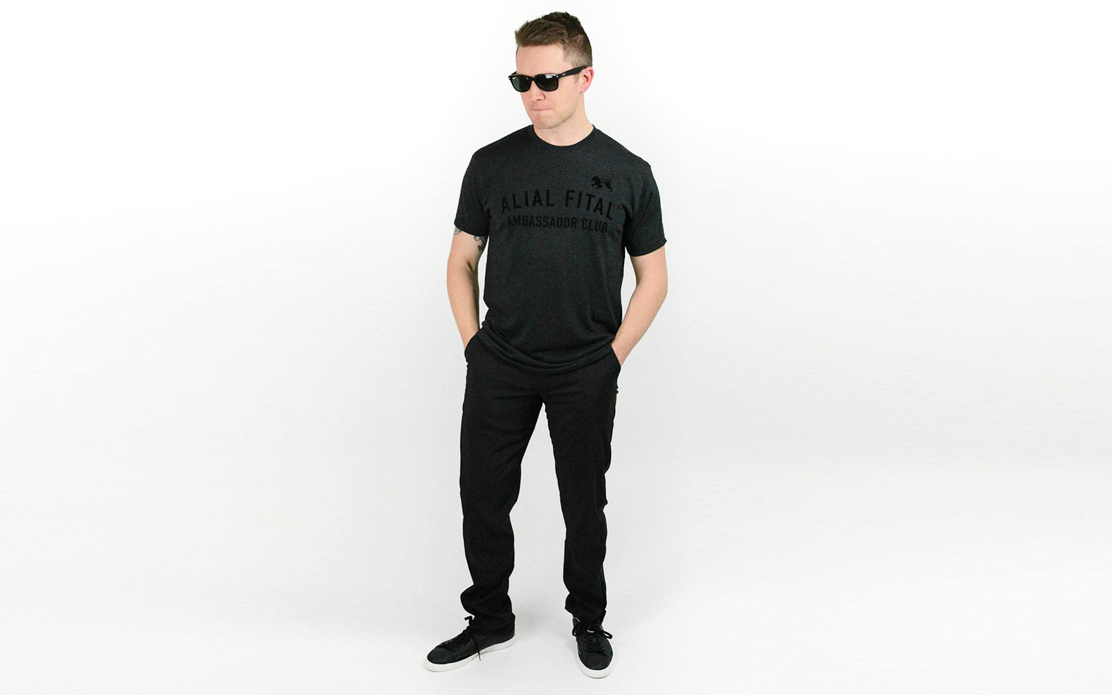 Black tshirts made in USA for luxury menswear, Alial Fital