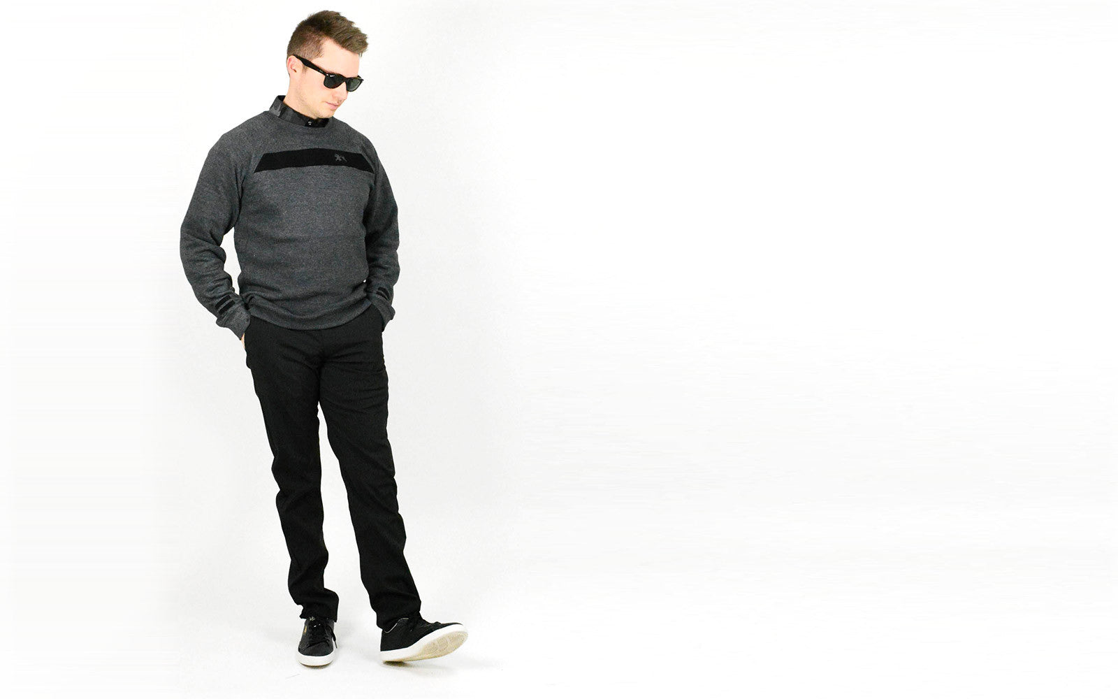 Alial Fital polo shirts for men - featuring the black stripe crew neck sweatshirt Made in the USA