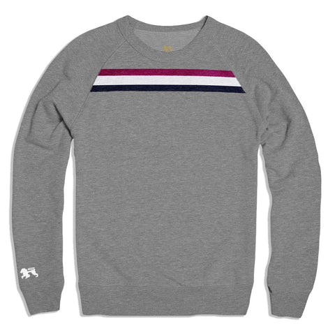 Berry Stripe Grey Crew - Alial Fital American made polos for men - 1