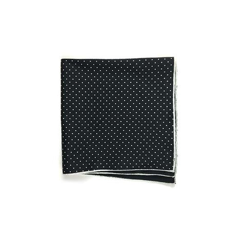 Black Pindot Pocket Square - Alial Fital American made polos for men