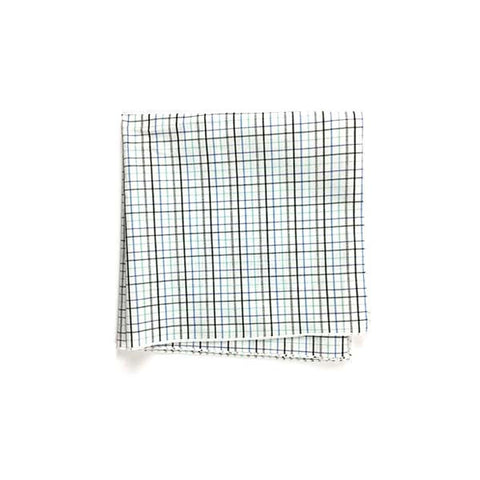 Blue Green Check Pocket Square - Alial Fital American made polos for men