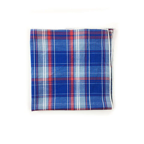 Blue Grey Red Pocket Square - Alial Fital American made polos for men